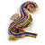 Oversized Multicoloured Crystal Seahorse Brooch/ Pendant in Aged Gold Tone Metal - 90mm Tall - view 3
