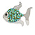 Small Green Crystal Fish Brooch In Silver Tone Metal - 35mm Across