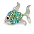 Small Green Crystal Fish Brooch In Silver Tone Metal - 35mm Across - view 4