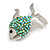 Small Green Crystal Fish Brooch In Silver Tone Metal - 35mm Across - view 5