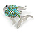 Small Green Crystal Fish Brooch In Silver Tone Metal - 35mm Across - view 3