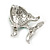 Small Green Crystal Fish Brooch In Silver Tone Metal - 35mm Across - view 6