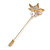 Gold Tone Clear Crystal White Pearl Mapel Leaf Lapel, Hat, Suit, Tuxedo, Collar, Scarf, Coat Stick Brooch Pin - 60mm L - view 2