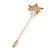 Gold Tone Clear Crystal White Pearl Mapel Leaf Lapel, Hat, Suit, Tuxedo, Collar, Scarf, Coat Stick Brooch Pin - 60mm L