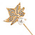 Gold Tone Clear Crystal White Pearl Mapel Leaf Lapel, Hat, Suit, Tuxedo, Collar, Scarf, Coat Stick Brooch Pin - 60mm L - view 4