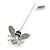 Silver Tone Clear Crystal Black Enamel Bee Lapel, Hat, Suit, Tuxedo, Collar, Scarf, Coat Stick Brooch Pin - 60mm L - view 6
