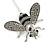Silver Tone Clear Crystal Black Enamel Bee Lapel, Hat, Suit, Tuxedo, Collar, Scarf, Coat Stick Brooch Pin - 60mm L - view 3
