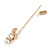Gold Tone Clear Crystal Scorpion Lapel, Hat, Suit, Tuxedo, Collar, Scarf, Coat Stick Brooch Pin - 65mm L - view 6