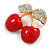 Red Enamel Clear Crystal Double Cherry Brooch In Gold Tone - 35mm Across - view 4