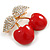 Red Enamel Clear Crystal Double Cherry Brooch In Gold Tone - 35mm Across - view 5