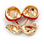 Red Enamel Clear Crystal Double Cherry Brooch In Gold Tone - 35mm Across - view 6