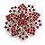 Statement Corsage Red Crystal Flower Brooch In Silver Tone Metal - 55mm Diameter