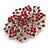 Statement Corsage Red Crystal Flower Brooch In Silver Tone Metal - 55mm Diameter - view 3