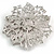 Statement Corsage Red Crystal Flower Brooch In Silver Tone Metal - 55mm Diameter - view 5