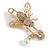 Clear Crystal Bee Safety Pin Brooch In Gold Tone - 55mm Long