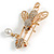 Clear Crystal Bee Safety Pin Brooch In Gold Tone - 55mm Long - view 2
