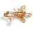 Clear Crystal Bee Safety Pin Brooch In Gold Tone - 55mm Long - view 4