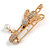 Clear Crystal Bee Safety Pin Brooch In Gold Tone - 55mm Long - view 5
