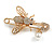 Clear Crystal Bee Safety Pin Brooch In Gold Tone - 55mm Long - view 6