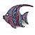 Statement Pink/ Purple/ Blue Crystal Fish Brooch In Gun Metal Finish - 55mm Long