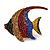 Statement Multicoloured Crystal Fish Brooch In Gold Tone - 55mm Long