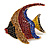 Statement Multicoloured Crystal Fish Brooch In Gold Tone - 55mm Long - view 6