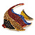Statement Multicoloured Crystal Fish Brooch In Gold Tone - 55mm Long - view 3