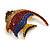 Statement Multicoloured Crystal Fish Brooch In Gold Tone - 55mm Long - view 5