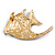 Statement Multicoloured Crystal Fish Brooch In Gold Tone - 55mm Long - view 4