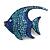Statement Crystal Fish Brooch In Gun Metal Finish In Blue - 55mm Long