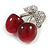 Clear Crystal Red Resin Double Cherry Brooch In Silver Tone - 35mm Tall - view 3