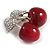 Clear Crystal Red Resin Double Cherry Brooch In Silver Tone - 35mm Tall - view 4