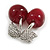 Clear Crystal Red Resin Double Cherry Brooch In Silver Tone - 35mm Tall - view 5