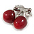 Clear Crystal Red Resin Double Cherry Brooch In Silver Tone - 35mm Tall - view 6