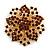 Statement Corsage Topaz Crystal Flower Brooch In Gold Tone Metal - 55mm Diameter