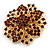 Statement Corsage Topaz Crystal Flower Brooch In Gold Tone Metal - 55mm Diameter - view 3