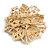 Statement Corsage Topaz Crystal Flower Brooch In Gold Tone Metal - 55mm Diameter - view 4
