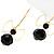 Jet-Black Bead Bow Earrings - view 5