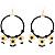 Jet-Black Beaded Costume Hoop Earrings