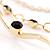 Gold Jet-Black Serpentine Costume Hoop Earrings - view 4