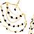 Gold Jet-Black Serpentine Costume Hoop Earrings - view 7
