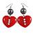 Red Plastic Crystal Heart Earrings