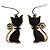 Brass Tone Cat Earrings
