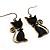 Brass Tone Cat Earrings - view 2