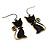 Brass Tone Cat Earrings - view 3