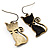 Brass Tone Cat Earrings - view 4