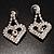 Clear Crystal Dangle Heart Earrings - view 3