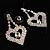 Clear Crystal Dangle Heart Earrings - view 6