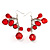 Red Plastic Faceted Bead Dangle Earrings - view 2