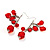 Red Plastic Faceted Bead Dangle Earrings - view 3
